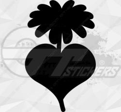 Sticker Fleur Marguerite Cœur