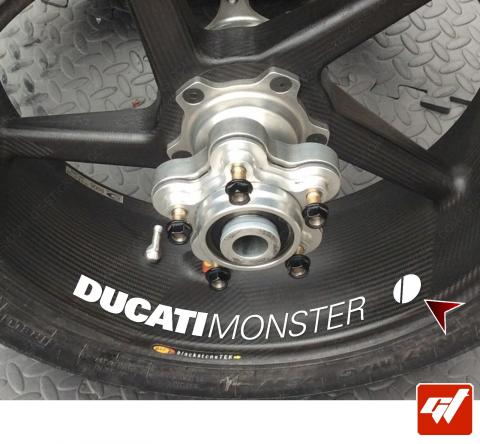 4 Stickers DUCATI Monster + Logo Déco intérieur jantes moto