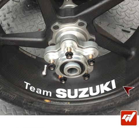 4 Stickers Suzuki TEAM Déco intérieur jantes Moto