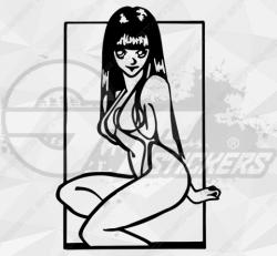 Sticker femme manga