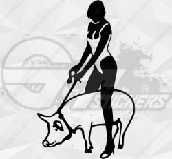 Sticker femme cochon