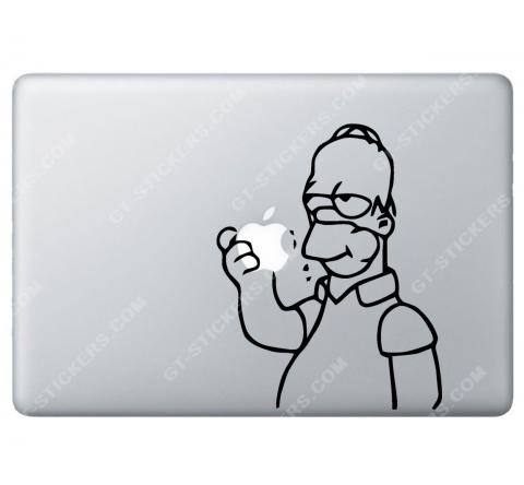 Sticker Apple Homer Simpson croque la pomme pour Macbook