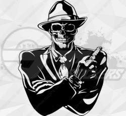 Sticker Squelette Gangster