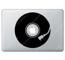 Stickers Apple Disque Vinyle DJ pour Macbook - Taille : 179x141 mm