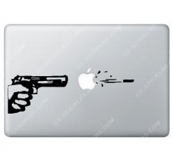 Sticker Apple Tir au pistolet pour Macbook - Taille : 252x85 mm
