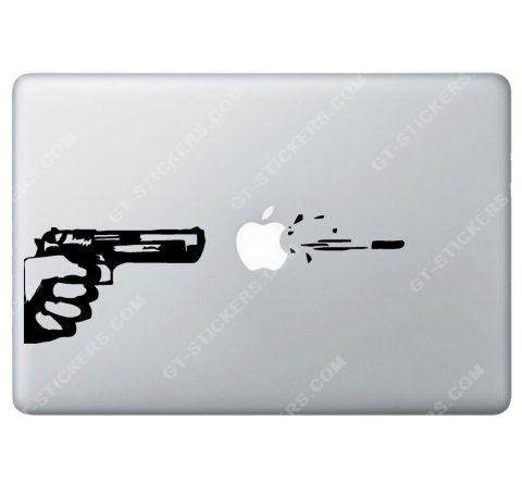 Sticker Apple Tir au pistolet pour Macbook - Taille : 252x85 mm