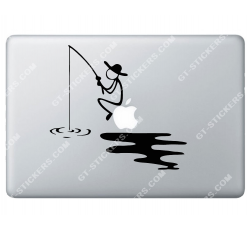 Stickers Apple Pêcheur pour Macbook - Taille : 198x180 mm