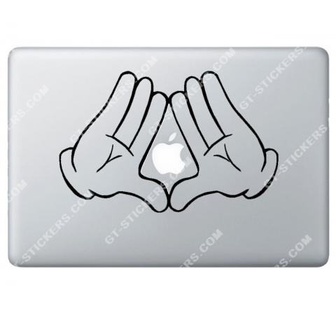 Sticker Apple  Disney Mickey Illuminati pour Macbook - Taille : 250x160 mm