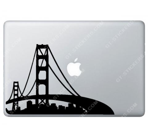 Sticker Apple Golden Gate pour Macbook - Taille : 255x177 mm