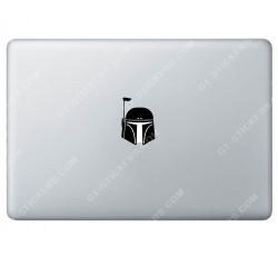 Sticker Apple Bobba Fett Starwars pour Macbook - Taille : 66x46 mm