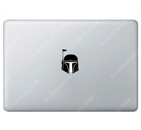 Sticker Apple Bobba Fett Starwars pour Macbook - Taille : 66x46 mm