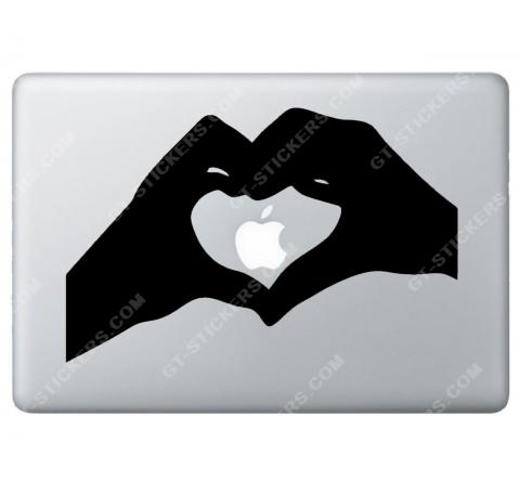 Sticker Apple Cœur avec les mains pour Macbook - Taille : 261x169 mm