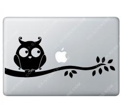 Sticker Apple Hibou pour Macbook - Taille : 306x115 mm