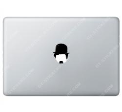 Sticker Apple Charlie Chaplin Charlot pour Macbook - Taille : 70x58 mm