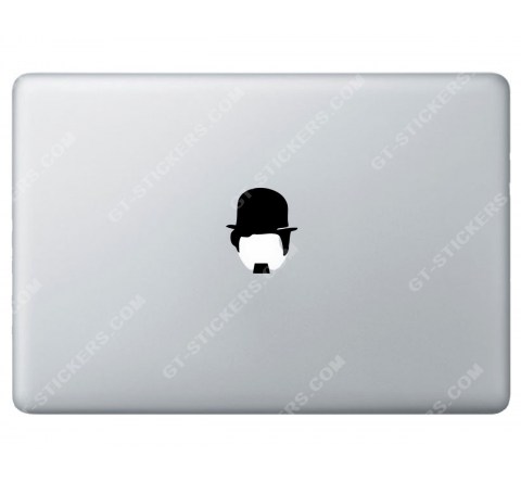 Sticker Apple Charlie Chaplin Charlot pour Macbook - Taille : 70x58 mm