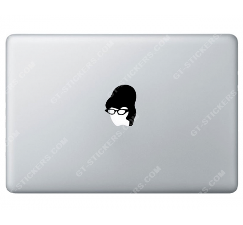 Sticker Apple  Secrétaire Femme à lunettes pour Macbook - Taille : 60x46 mm