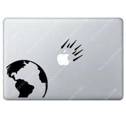 Sticker Apple Météore vers la terre pour Macbook - Taille : 210x161 mm