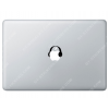 Sticker Apple Casque Audio DJ Audiophile pour Macbook - Taille : 50x39 mm