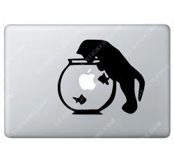 Sticker Apple Chat et aquarium pour Macbook - Taille : 168x145 mm