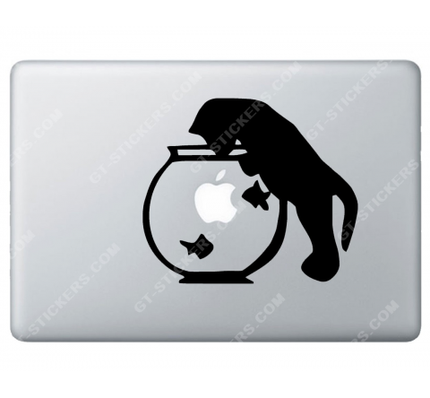 Sticker Apple  Chat et aquarium pour Macbook - Taille : 168x145 mm