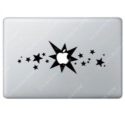 Sticker Apple Etoiles pour Macbook - Taille : 280x106 mm