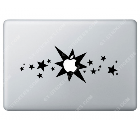 Sticker Apple  Etoiles pour Macbook - Taille : 280x106 mm