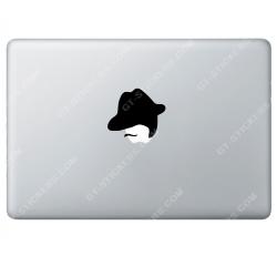 Sticker Apple Chapeau Moustaches pour Macbook - Taille :76x64 mm