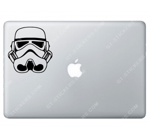 Sticker Apple  Stormtrooper StarWars pour Macbook - Taille : 102x98 mm