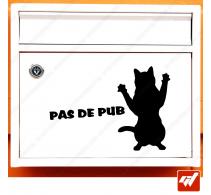 Sticker déco de boite aux lettres - Chat chaton STOP PUB
