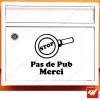 Sticker déco de boite aux lettres - loupe detective  STOP PUB