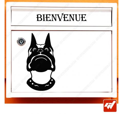 Sticker déco de boite aux lettres - chien de garde bienvenue