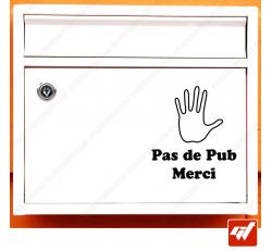 Sticker déco de boite aux lettres - Stop pas de pub publicité