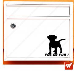 Sticker déco de boite aux lettres - petit chien chiot Stop pas de pub