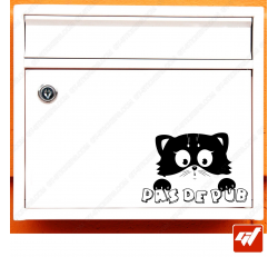 Sticker déco de boite aux lettres - chat chaton anime manga Stop pas de pub