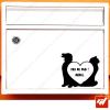 Sticker déco de boite aux lettres - chien et chat cœur amour animaux Stop pas de pub