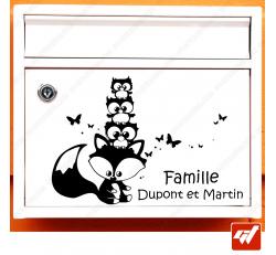 Sticker déco de boite aux lettres à personnaliser avec votre texte / Noms de famille - animaux de la forêt