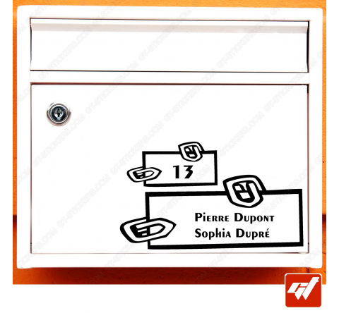 Sticker déco de boite aux lettres à personnaliser avec votre numéro de rue et vos noms / prenoms - style trombonnes fun design