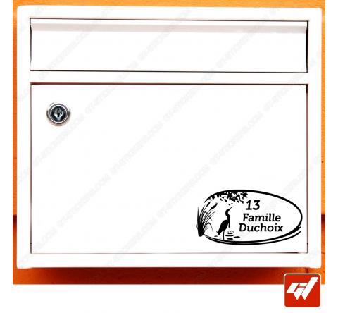 Sticker déco de boite aux lettres à personnaliser avec votre numéro de rue et vos noms / prenoms - style art deco villa propriet