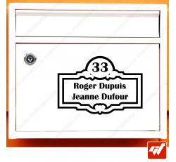 Sticker déco de boite aux lettres à personnaliser avec vos numéro de rue et vos noms / prenoms style design deco villa