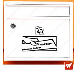 Sticker déco de boite aux lettres à personnaliser avec votre numéro de rue et vos noms / prenoms - style design moderne art deco
