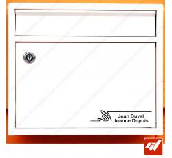 Sticker déco de boite aux lettres à personnaliser avec vos noms / prenoms - style design moderne art deco villa propriete manoir