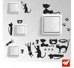9 Stickers - décoratif chats / chatons / souris / poisson rouge