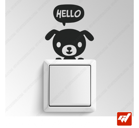 Sticker - chien hello manga