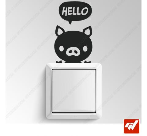 Sticker  - petit cochon hello manga