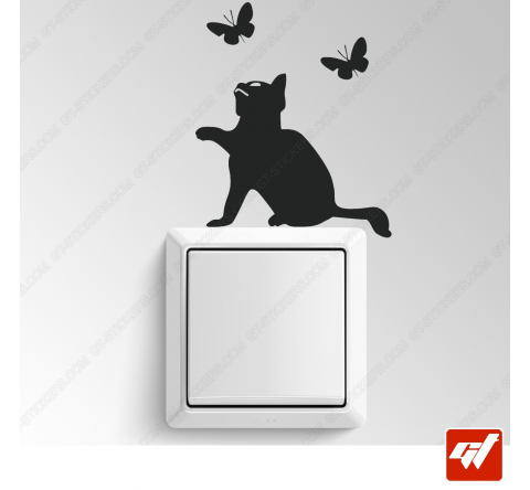 Sticker - chat qui chasse les papillons