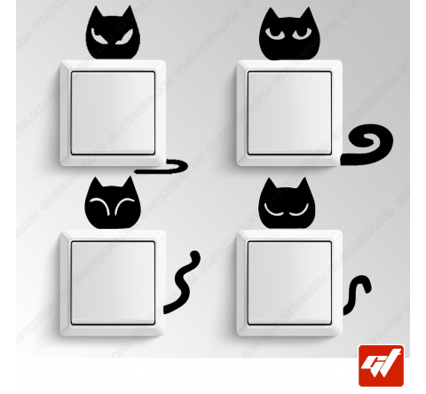4 Sticker  - Chat chaton tete humeur queue