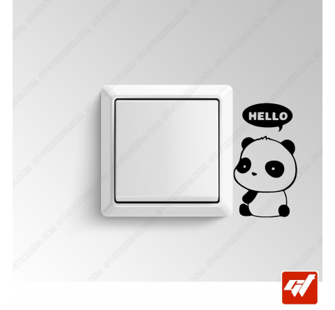 Sticker  - panda retourne hello