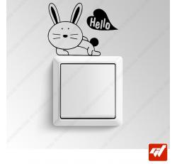 Sticker - petit lapin hello