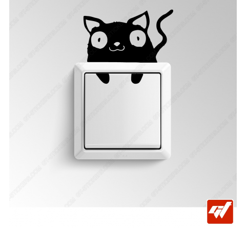 Sticker  - mignon petit chat allongé