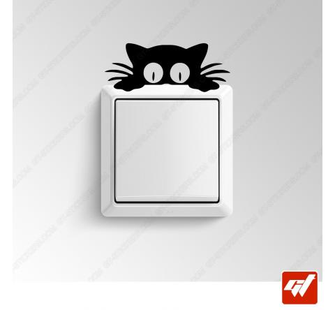 Sticker - chat curieux avec de grands yeux
